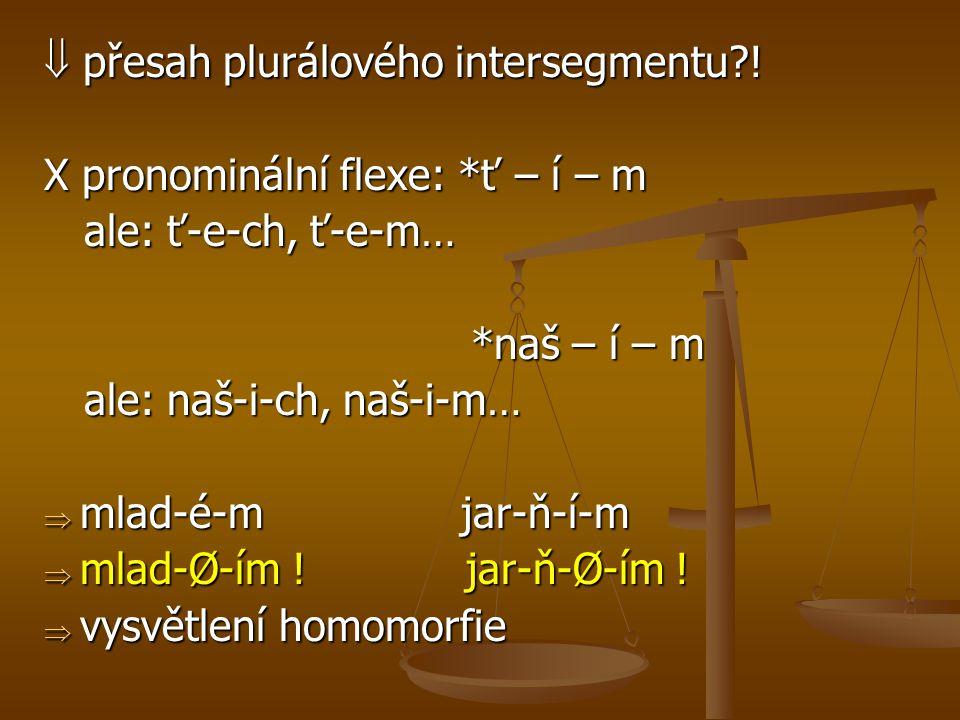  přesah plurálového intersegmentu?! X pronominální flexe: *ť – í – m ale: ť-e-ch, ť-e-m… ale: ť-e-ch, ť-e-m… *naš – í – m *naš – í – m ale: naš-i-ch,
