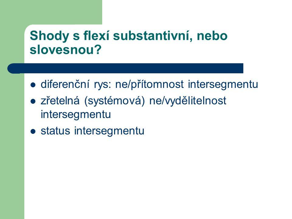 Shody s flexí substantivní, nebo slovesnou? diferenční rys: ne/přítomnost intersegmentu zřetelná (systémová) ne/vydělitelnost intersegmentu status int