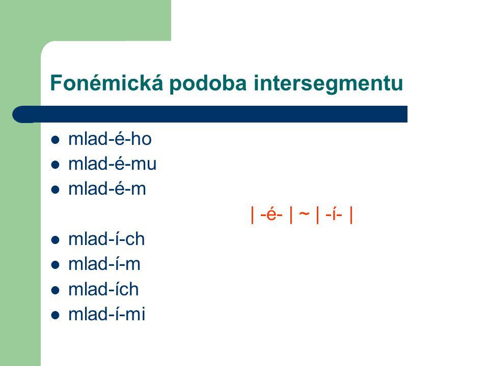 Fonémická podoba intersegmentu mlad-é-ho mlad-é-mu mlad-é-m | -é- | ~ | -í- | mlad-í-ch mlad-í-m mlad-ích mlad-í-mi