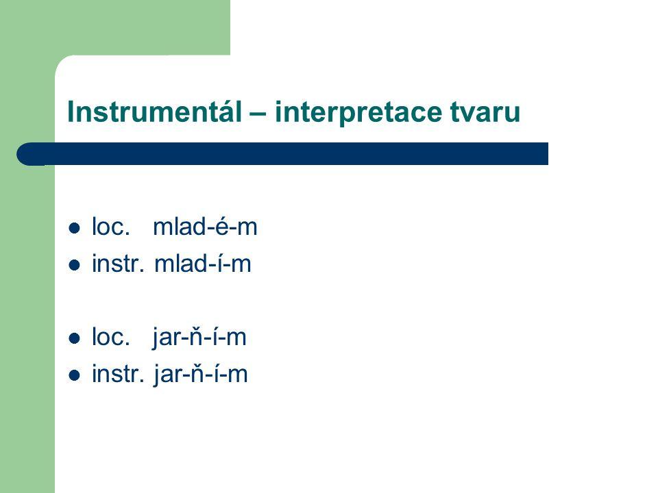 Instrumentál – interpretace tvaru loc. mlad-é-m instr. mlad-í-m loc. jar-ň-í-m instr. jar-ň-í-m