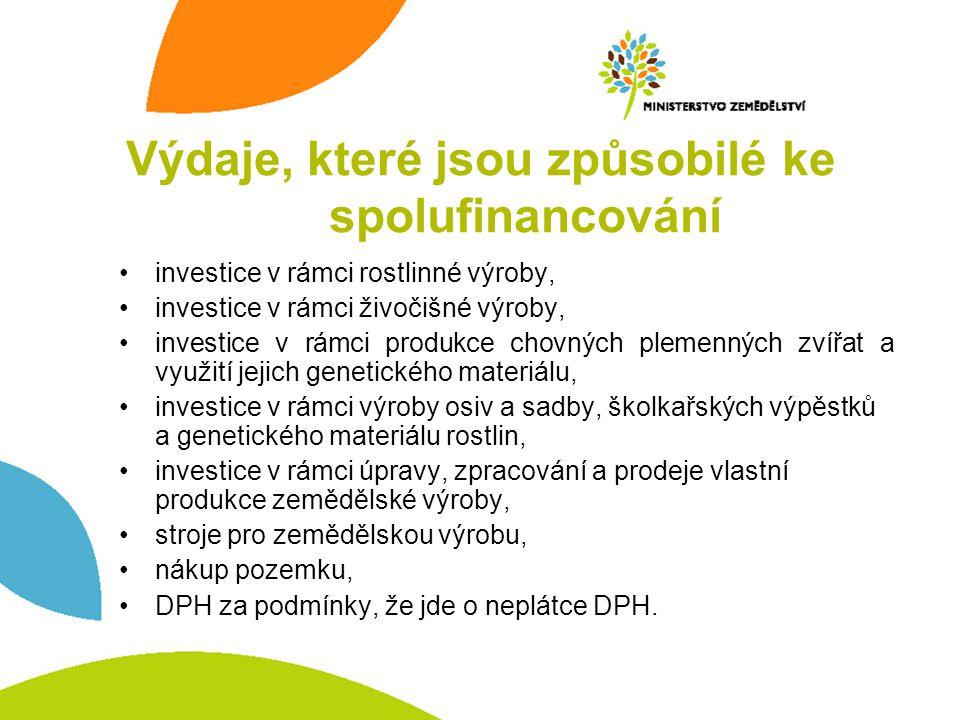 investice v rámci rostlinné výroby, investice v rámci živočišné výroby, investice v rámci produkce chovných plemenných zvířat a využití jejich genetic