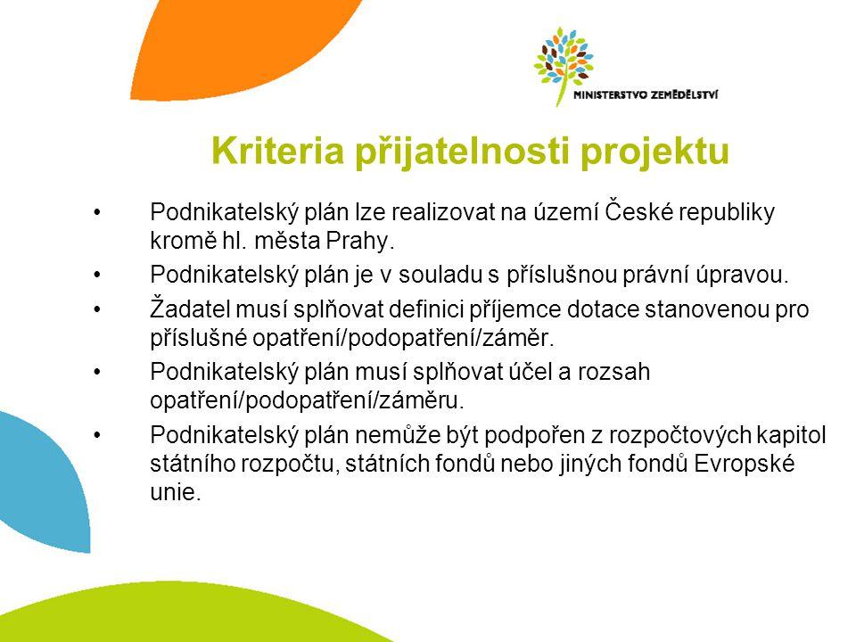 Podnikatelský plán lze realizovat na území České republiky kromě hl. města Prahy. Podnikatelský plán je v souladu s příslušnou právní úpravou. Žadatel