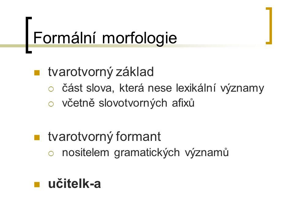 Formální morfologie tvarotvorný základ  část slova, která nese lexikální významy  včetně slovotvorných afixů tvarotvorný formant  nositelem gramatických významů učitelk-a