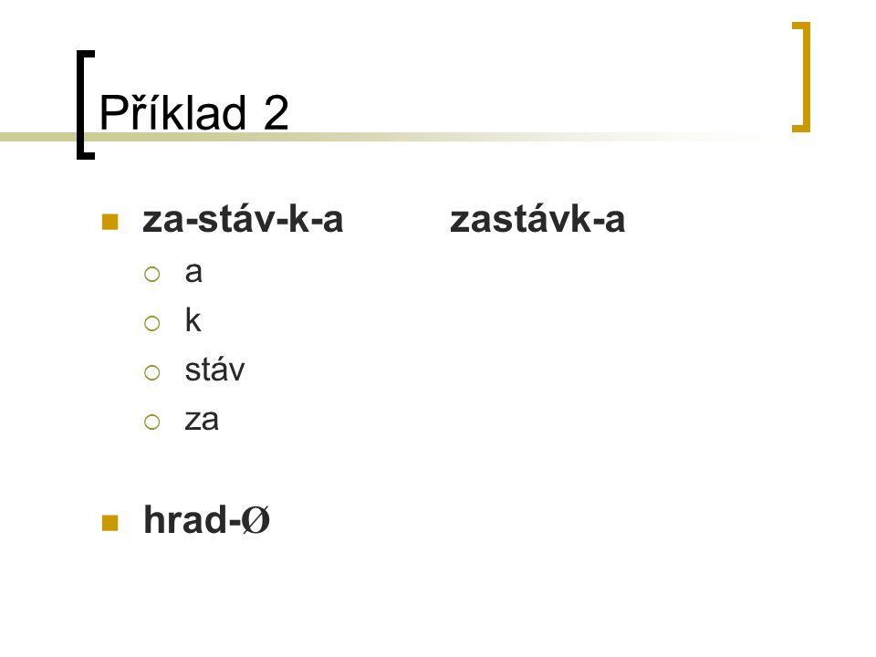 Příklad 2 za-stáv-k-azastávk-a  a  k  stáv  za hrad- Ø
