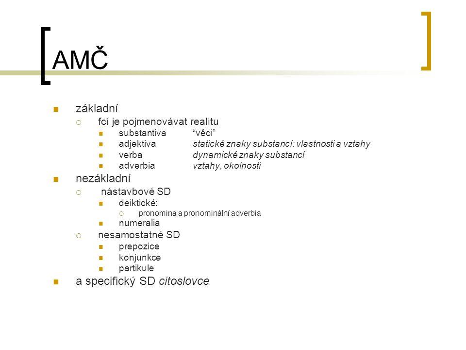 """AMČ základní  fcí je pojmenovávat realitu substantiva """"věci"""" adjektivastatické znaky substancí: vlastnosti a vztahy verbadynamické znaky substancí ad"""