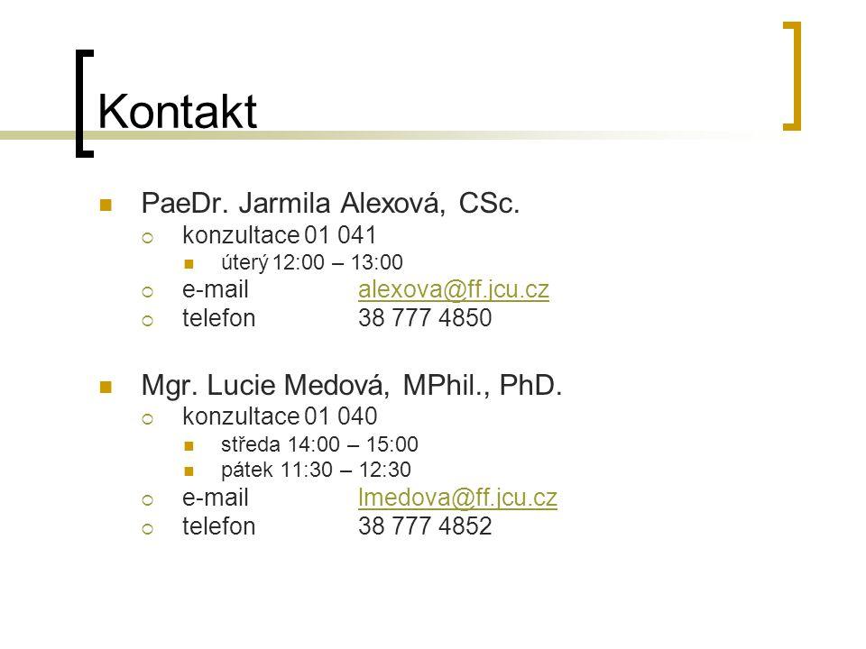 Kontakt PaeDr. Jarmila Alexová, CSc.  konzultace 01 041 úterý12:00 – 13:00  e-mailalexova@ff.jcu.czalexova@ff.jcu.cz  telefon38 777 4850 Mgr. Lucie