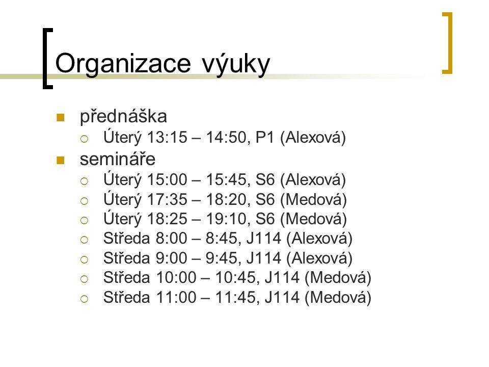 Organizace výuky přednáška  Úterý 13:15 – 14:50, P1 (Alexová) semináře  Úterý 15:00 – 15:45, S6 (Alexová)  Úterý 17:35 – 18:20, S6 (Medová)  Úterý 18:25 – 19:10, S6 (Medová)  Středa 8:00 – 8:45, J114 (Alexová)  Středa 9:00 – 9:45, J114 (Alexová)  Středa 10:00 – 10:45, J114 (Medová)  Středa 11:00 – 11:45, J114 (Medová)