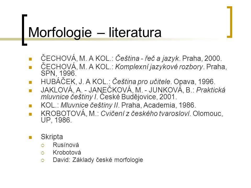 Morfologie – literatura ČECHOVÁ, M. A KOL.: Čeština - řeč a jazyk. Praha, 2000. ČECHOVÁ, M. A KOL.: Komplexní jazykové rozbory. Praha, SPN, 1996. HUBÁ