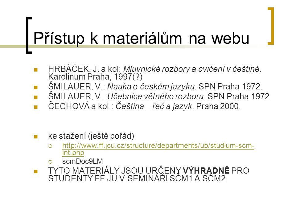 Přístup k materiálům na webu HRBÁČEK, J. a kol: Mluvnické rozbory a cvičení v češtině. Karolinum Praha, 1997(?) ŠMILAUER, V.: Nauka o českém jazyku. S