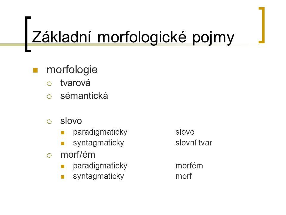 Základní morfologické pojmy morfologie  tvarová  sémantická  slovo paradigmatickyslovo syntagmatickyslovní tvar  morf/ém paradigmatickymorfém syntagmatickymorf
