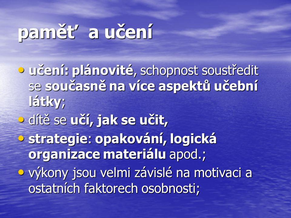 paměť a učení učení: plánovité, schopnost soustředit se současně na více aspektů učební látky; učení: plánovité, schopnost soustředit se současně na více aspektů učební látky; dítě se učí, jak se učit, dítě se učí, jak se učit, strategie: opakování, logická organizace materiálu apod.; strategie: opakování, logická organizace materiálu apod.; výkony jsou velmi závislé na motivaci a ostatních faktorech osobnosti; výkony jsou velmi závislé na motivaci a ostatních faktorech osobnosti;