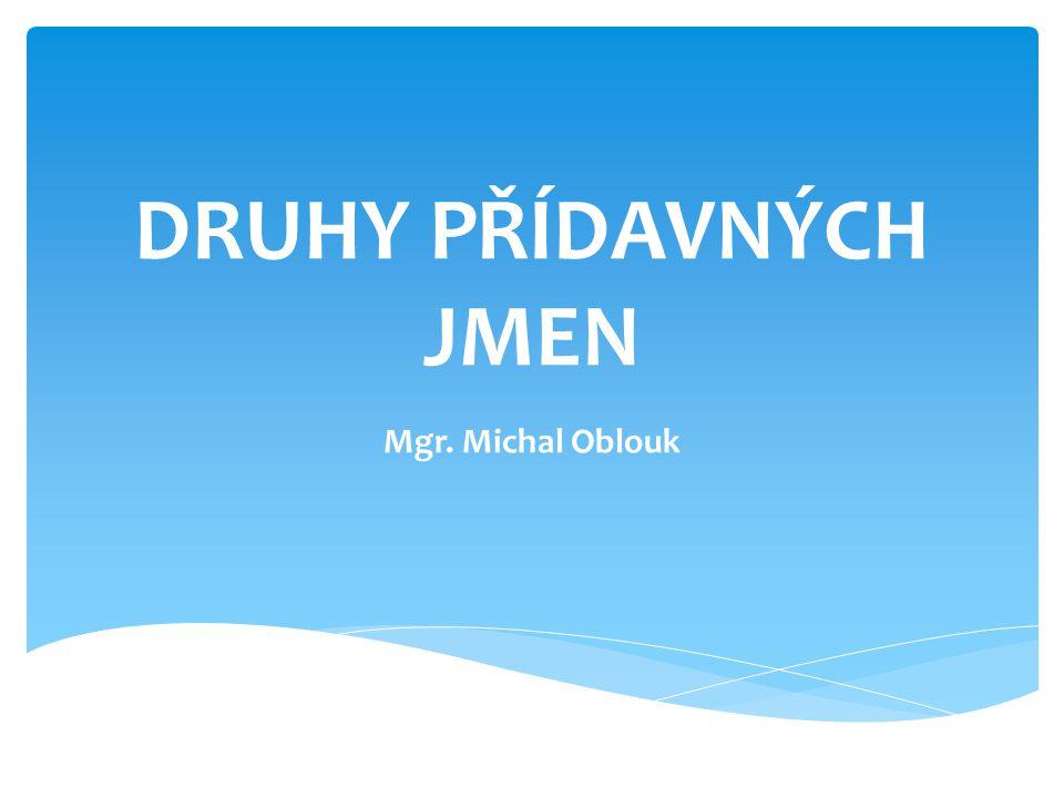 DRUHY PŘÍDAVNÝCH JMEN Mgr. Michal Oblouk