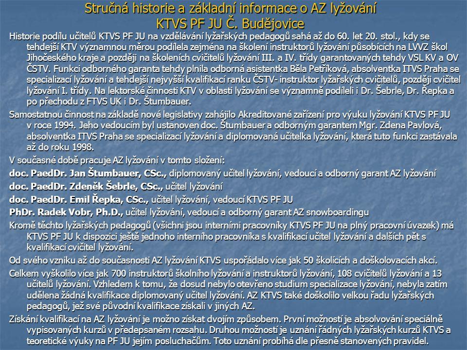 Pravidla pro získání kvalifikací lyžařských pedagogů (licence AZ lyžování KTVS PF JU) platná od 1.
