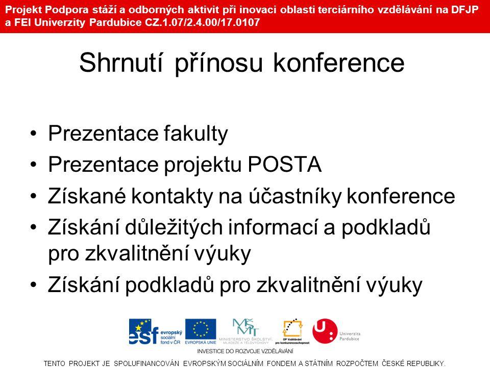Projekt Podpora stáží a odborných aktivit při inovaci oblasti terciárního vzdělávání na DFJP a FEI Univerzity Pardubice CZ.1.07/2.4.00/17.0107 Shrnutí přínosu konference Prezentace fakulty Prezentace projektu POSTA Získané kontakty na účastníky konference Získání důležitých informací a podkladů pro zkvalitnění výuky Získání podkladů pro zkvalitnění výuky TENTO PROJEKT JE SPOLUFINANCOVÁN EVROPSKÝM SOCIÁLNÍM FONDEM A STÁTNÍM ROZPOČTEM ČESKÉ REPUBLIKY.