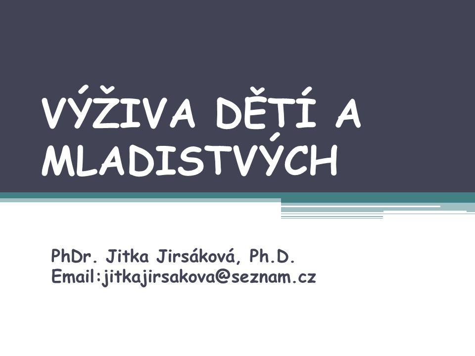 VÝŽIVA DĚTÍ A MLADISTVÝCH PhDr. Jitka Jirsáková, Ph.D. Email:jitkajirsakova@seznam.cz