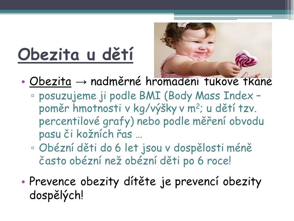 Obezita u dětí Obezita → nadměrné hromadění tukové tkáně ▫ posuzujeme ji podle BMI (Body Mass Index – poměr hmotnosti v kg/výšky v m 2 ; u dětí tzv. p