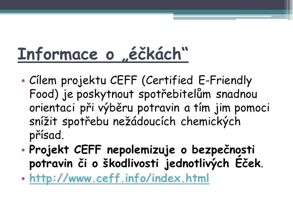 """Informace o """"éčkách"""" Cílem projektu CEFF (Certified E-Friendly Food) je poskytnout spotřebitelům snadnou orientaci při výběru potravin a tím jim pomoc"""