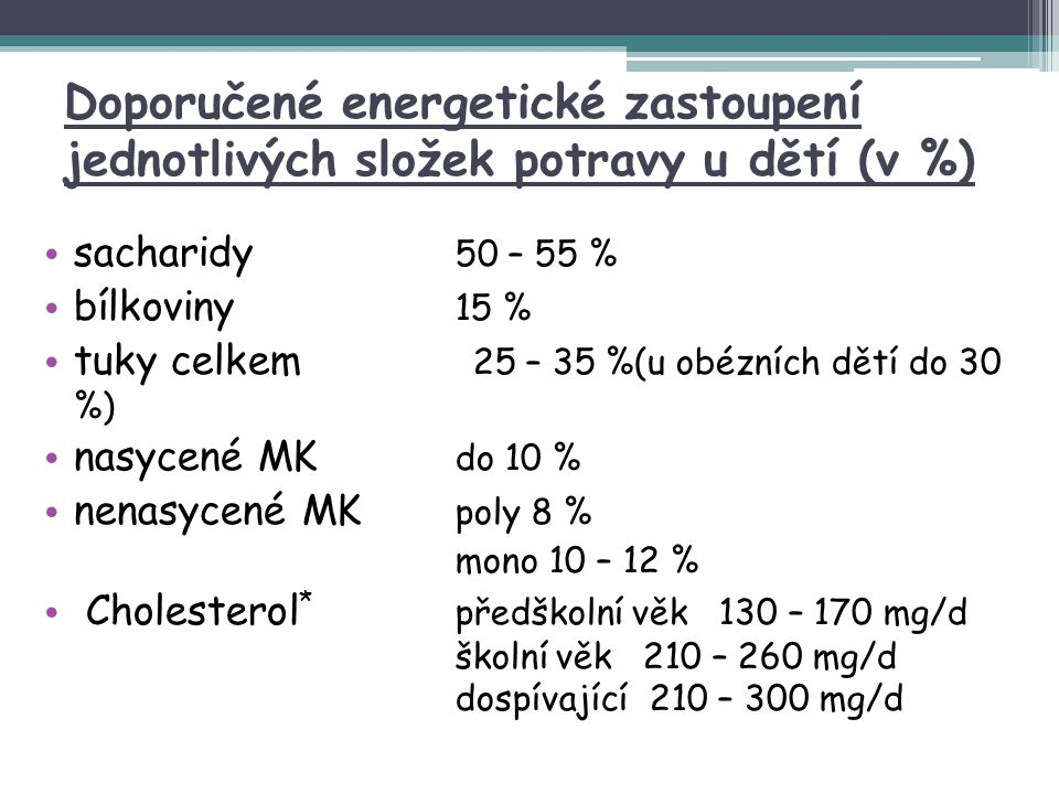 Doporučené energetické zastoupení jednotlivých složek potravy u dětí (v %) sacharidy 50 – 55 % bílkoviny 15 % tuky celkem 25 – 35 %(u obézních dětí do