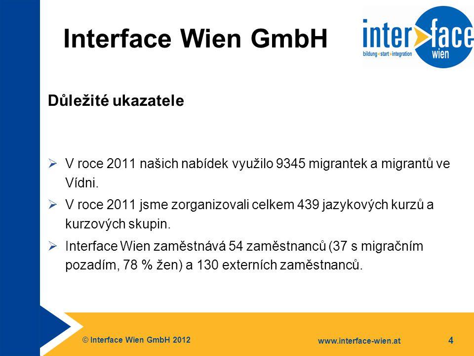 © Interface Wien GmbH 2012 www.interface-wien.at 4 Interface Wien GmbH Důležité ukazatele  V roce 2011 našich nabídek využilo 9345 migrantek a migrantů ve Vídni.