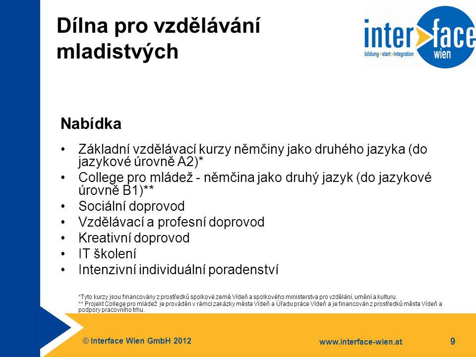 © Interface Wien GmbH 2012 www.interface-wien.at 9 Dílna pro vzdělávání mladistvých Nabídka Základní vzdělávací kurzy němčiny jako druhého jazyka (do jazykové úrovně A2)* College pro mládež - němčina jako druhý jazyk (do jazykové úrovně B1)** Sociální doprovod Vzdělávací a profesní doprovod Kreativní doprovod IT školení Intenzivní individuální poradenství *Tyto kurzy jsou financovány z prostředků spolkové země Vídeň a spolkového ministerstva pro vzdělání, umění a kulturu.