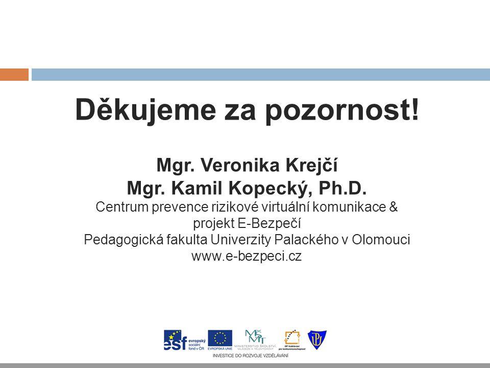 Děkujeme za pozornost! Mgr. Veronika Krejčí Mgr. Kamil Kopecký, Ph.D. Centrum prevence rizikové virtuální komunikace & projekt E-Bezpečí Pedagogická f