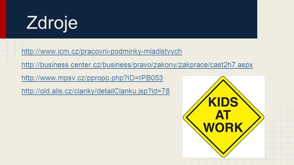 Zdroje http://www.icm.cz/pracovni-podminky-mladistvych http://business.center.cz/business/pravo/zakony/zakprace/cast2h7.aspx http://www.mpsv.cz/ppropo.php?ID=IPB053 http://old.alis.cz/clanky/detailClanku.jsp?id=78