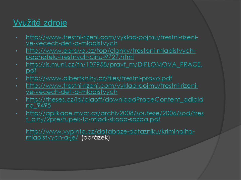 Využité zdroje http://www.trestni-rizeni.com/vyklad-pojmu/trestni-rizeni- ve-vecech-deti-a-mladistvych http://www.trestni-rizeni.com/vyklad-pojmu/tres