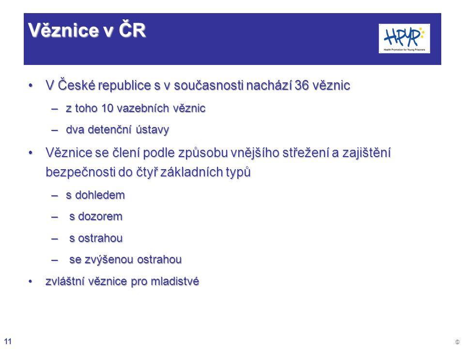 11 © Věznice v ČR V České republice s v současnosti nachází 36 věznicV České republice s v současnosti nachází 36 věznic –z toho 10 vazebních věznic –