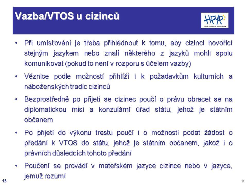 16 © Vazba/VTOS u cizinců Při umísťování je třeba přihlédnout k tomu, aby cizinci hovořící stejným jazykem nebo znalí některého z jazyků mohli spolu k