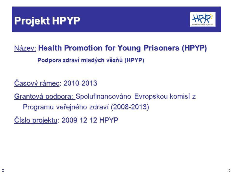 2 © Projekt HPYP Název: Health Promotion for Young Prisoners (HPYP) Podpora zdraví mladých vězňů (HPYP) Časový rámec: 2010-2013 Grantová podpora: Spol