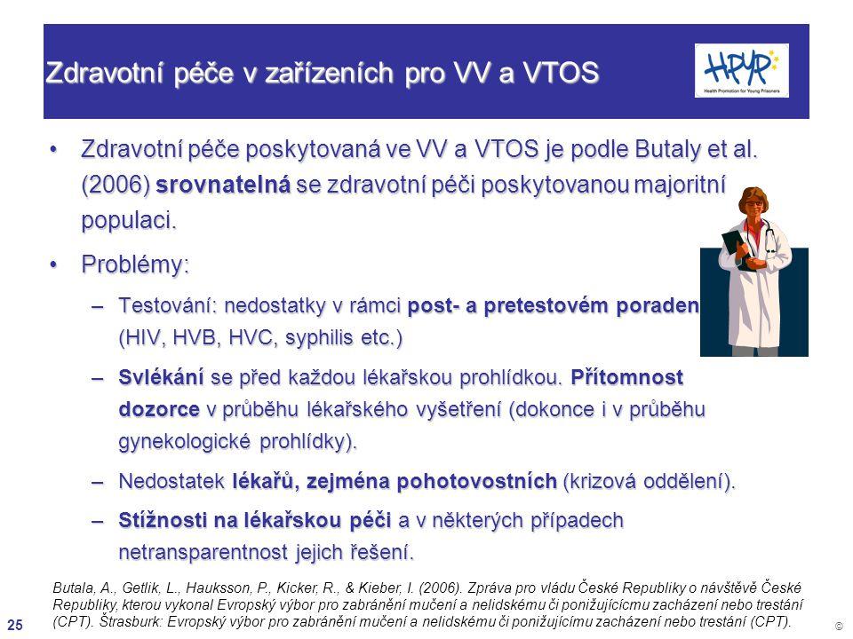 25 © Zdravotní péče v zařízeních pro VV a VTOS Zdravotní péče poskytovaná ve VV a VTOS je podle Butaly et al. (2006) srovnatelná se zdravotní péči pos
