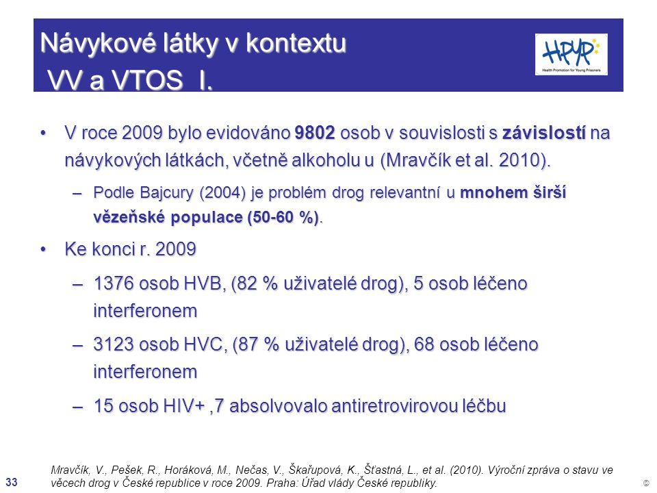 33 © Návykové látky v kontextu VV a VTOS I. V roce 2009 bylo evidováno 9802 osob v souvislosti s závislostí na návykových látkách, včetně alkoholu u (