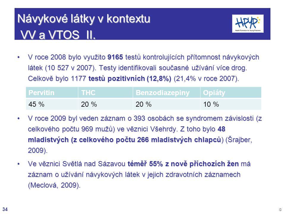 34 © Návykové látky v kontextu VV a VTOS II. V roce 2008 bylo využito 9165 testů kontrolujících přítomnost návykových látek (10 527 v 2007). Testy ide