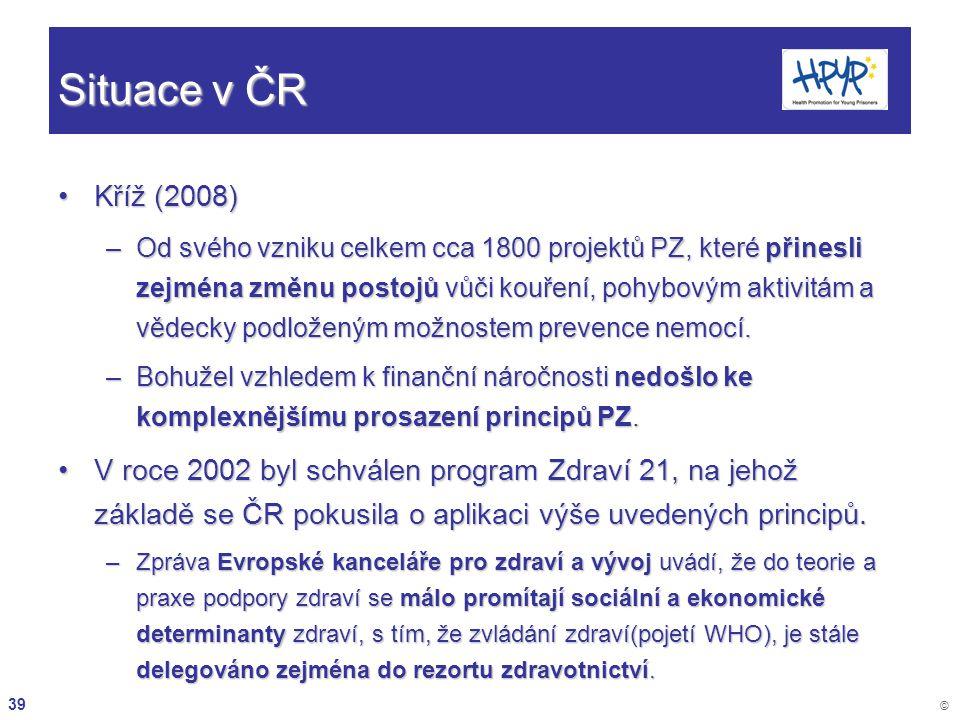 39 © Situace v ČR Kříž (2008)Kříž (2008) –Od svého vzniku celkem cca 1800 projektů PZ, které přinesli zejména změnu postojů vůči kouření, pohybovým ak