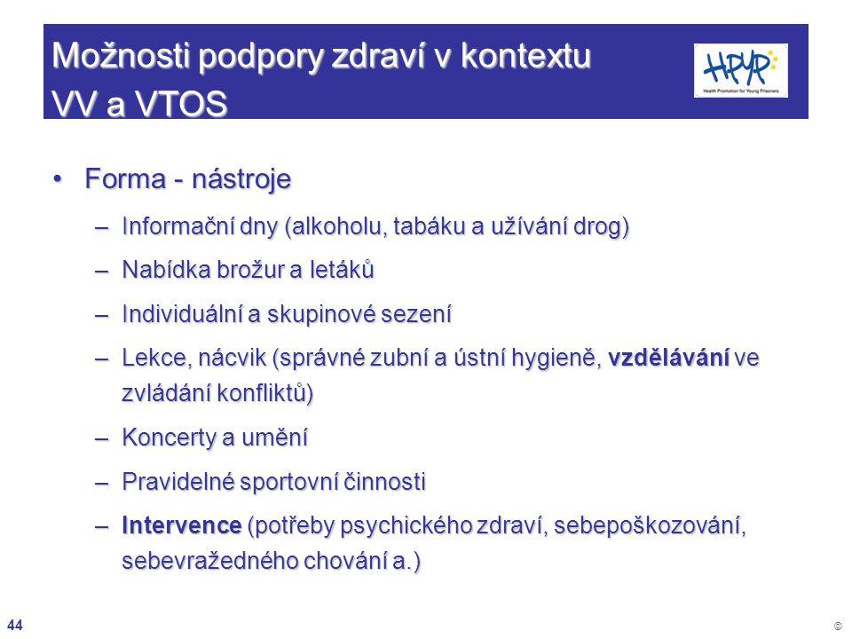 44 © Možnosti podpory zdraví v kontextu VV a VTOS Forma - nástrojeForma - nástroje –Informační dny (alkoholu, tabáku a užívání drog) –Nabídka brožur a