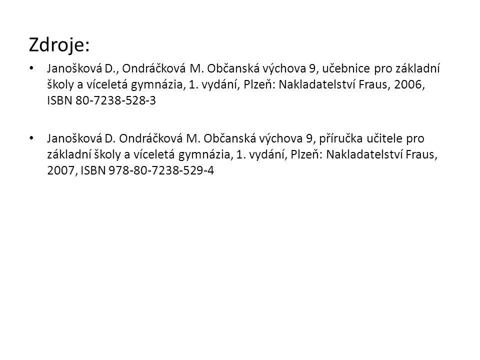 Zdroje: Janošková D., Ondráčková M. Občanská výchova 9, učebnice pro základní školy a víceletá gymnázia, 1. vydání, Plzeň: Nakladatelství Fraus, 2006,