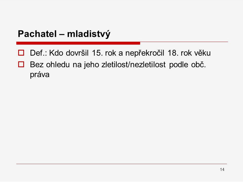 Pachatel – mladistvý  Def.: Kdo dovršil 15.rok a nepřekročil 18.