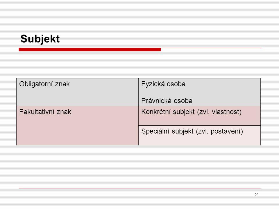 Subjekt Obligatorní znakFyzická osoba Právnická osoba Fakultativní znakKonkrétní subjekt (zvl.