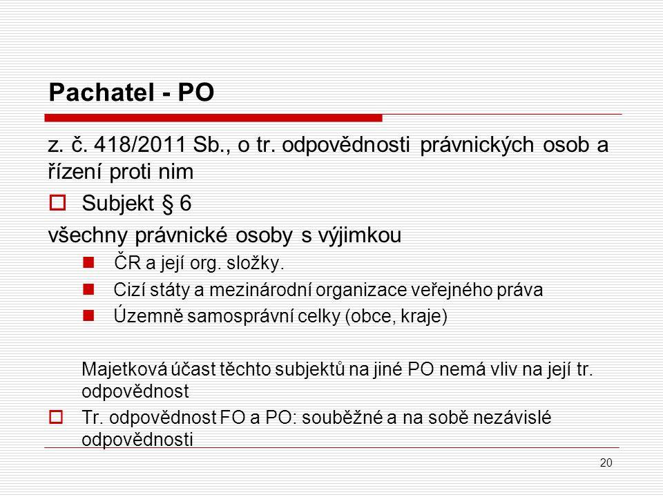 Pachatel - PO z.č. 418/2011 Sb., o tr.