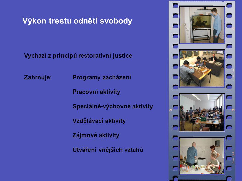 Vychází z principů restorativní justice Zahrnuje:Programy zacházení Pracovní aktivity Speciálně-výchovné aktivity Vzdělávací aktivity Zájmové aktivity