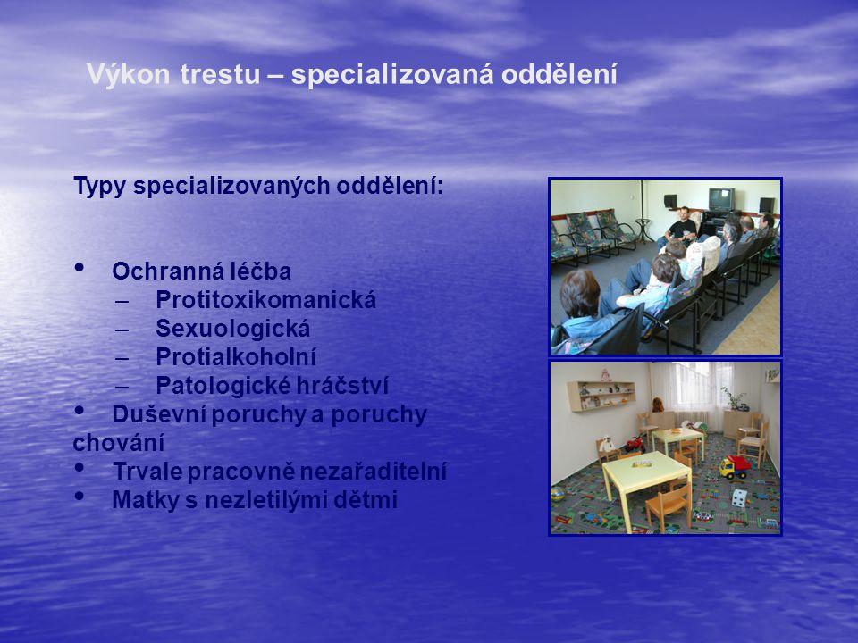 Typy specializovaných oddělení: Ochranná léčba – Protitoxikomanická – Sexuologická – Protialkoholní – Patologické hráčství Duševní poruchy a poruchy c