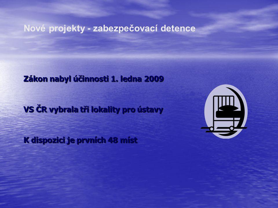 Zákon nabyl účinnosti 1. ledna 2009 VS ČR vybrala tři lokality pro ústavy K dispozici je prvních 48 míst Nové projekty - zabezpečovací detence