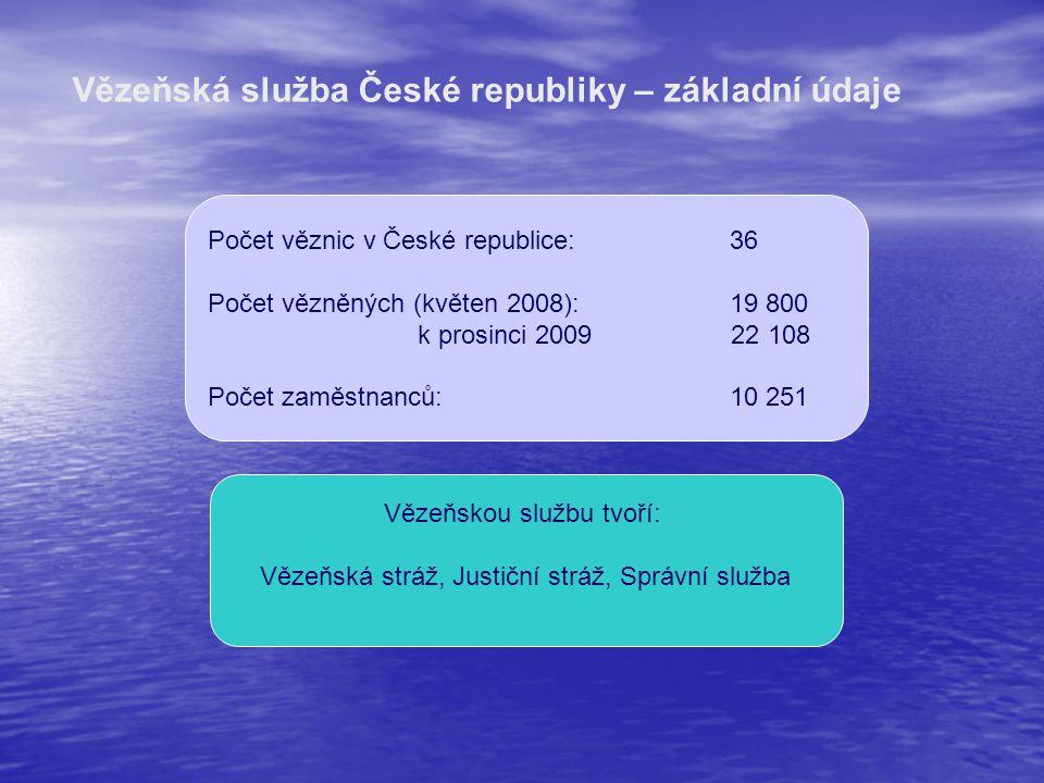Vězeňskou službu tvoří: Vězeňská stráž, Justiční stráž, Správní služba Počet věznic v České republice:36 Počet vězněných (květen 2008):19 800 k prosin
