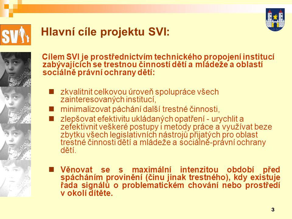 3 Hlavní cíle projektu SVI: Cílem SVI je prostřednictvím technického propojení institucí zabývajících se trestnou činností dětí a mládeže a oblastí sociálně právní ochrany dětí: zkvalitnit celkovou úroveň spolupráce všech zainteresovaných institucí, minimalizovat páchání další trestné činnosti, zlepšovat efektivitu ukládaných opatření - urychlit a zefektivnit veškeré postupy i metody práce a využívat beze zbytku všech legislativních nástrojů přijatých pro oblast trestné činnosti dětí a mládeže a sociálně-právní ochrany dětí.