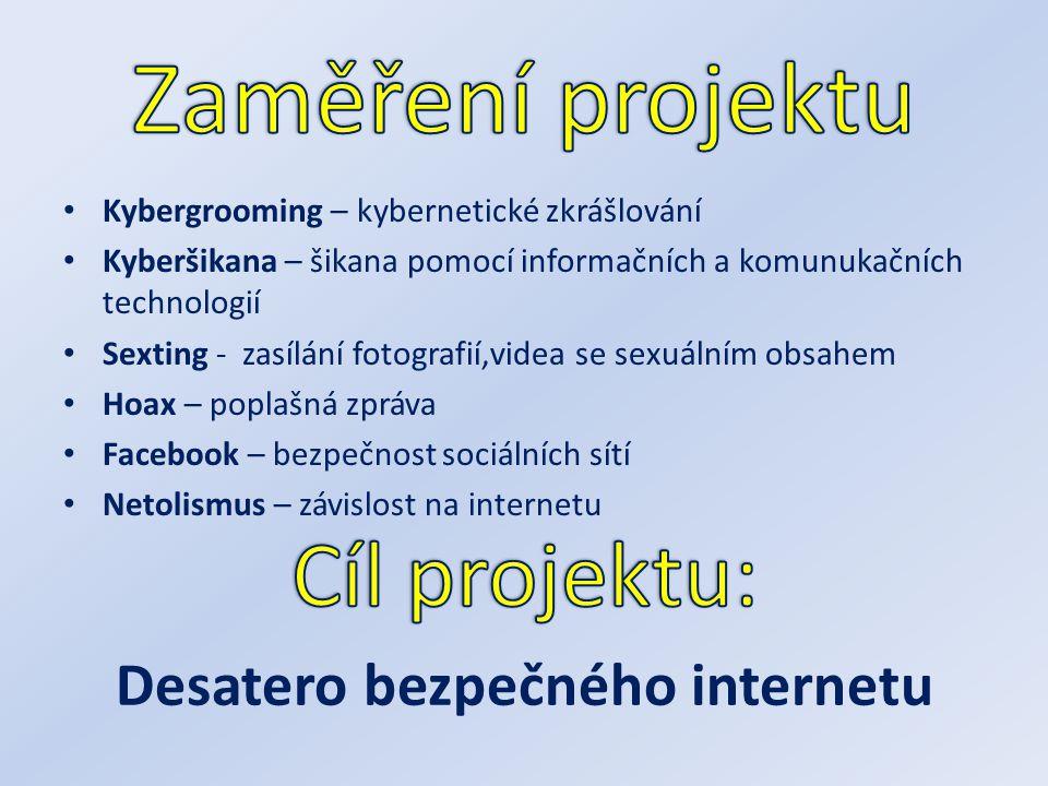 Kybergrooming – kybernetické zkrášlování Kyberšikana – šikana pomocí informačních a komunukačních technologií Sexting - zasílání fotografií,videa se s