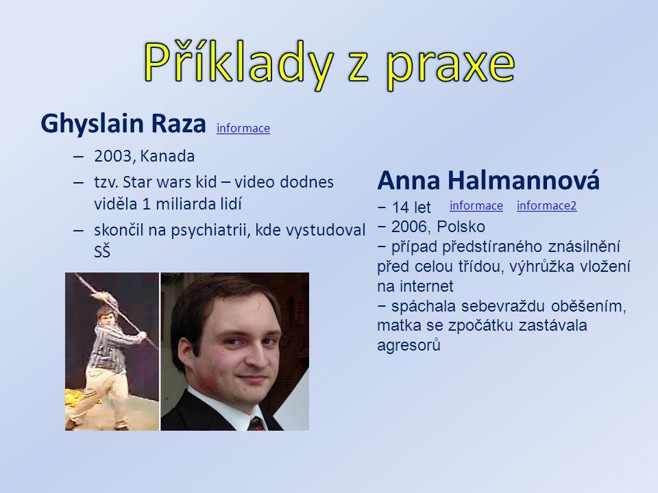 Ghyslain Raza – 2003, Kanada – tzv. Star wars kid – video dodnes viděla 1 miliarda lidí – skončil na psychiatrii, kde vystudoval SŠ informace Anna Hal