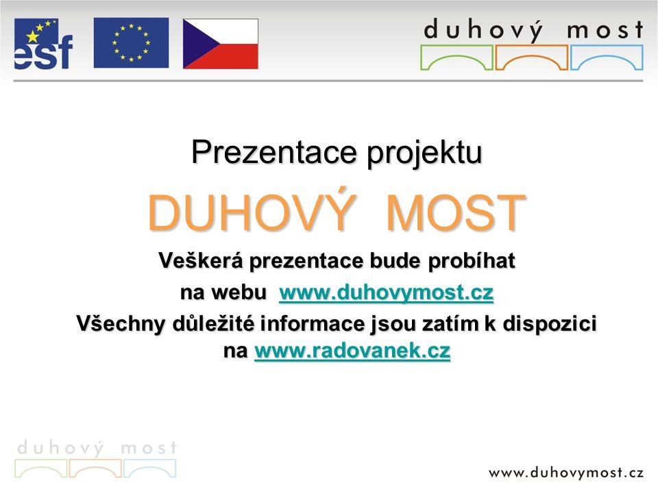 Prezentace projektu DUHOVÝ MOST Veškerá prezentace bude probíhat na webu www.duhovymost.cz www.duhovymost.cz Všechny důležité informace jsou zatím k dispozici na www.radovanek.cz www.radovanek.cz
