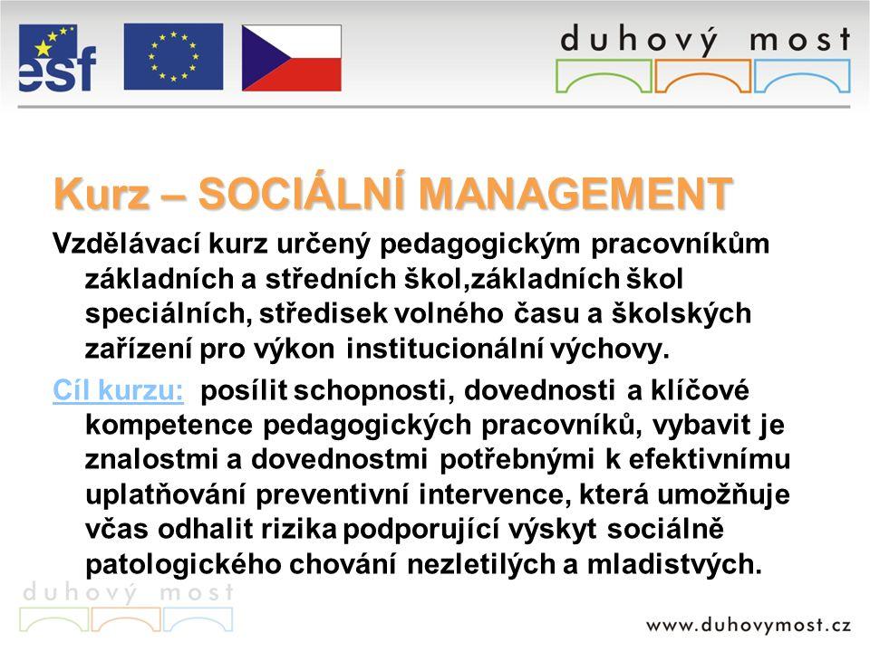 SOCIÁLNÍ MANAGEMENT Časový harmonogram měsícaktivity BŘEZEN 2007 8.-10.3.2007 – 1.