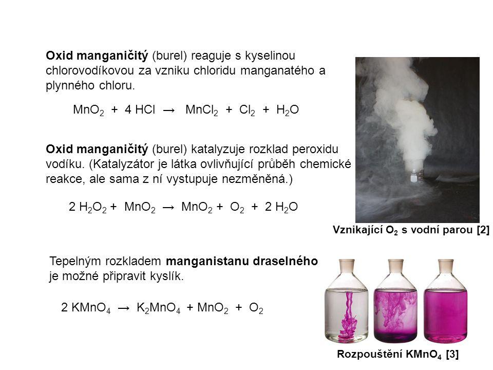 Oxid manganičitý (burel) reaguje s kyselinou chlorovodíkovou za vzniku chloridu manganatého a plynného chloru. MnO 2 + 4 HCl → MnCl 2 + Cl 2 + H 2 O O