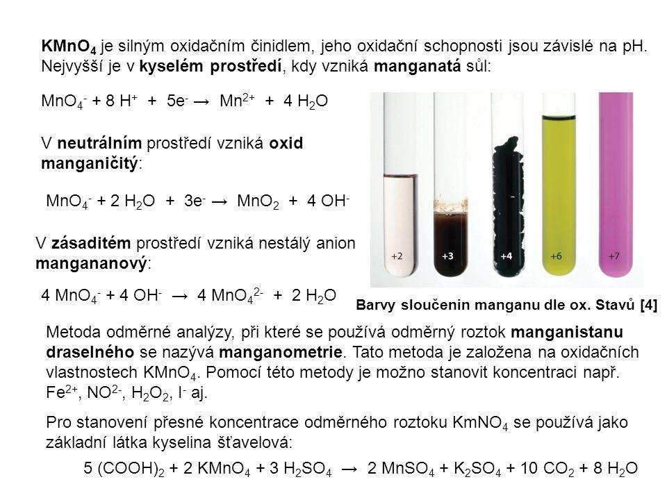 KMnO 4 je silným oxidačním činidlem, jeho oxidační schopnosti jsou závislé na pH. Nejvyšší je v kyselém prostředí, kdy vzniká manganatá sůl: Barvy slo